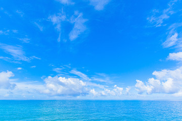 Blue sky with clouds and blue ocean in Okinawa