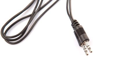 Audio jack over white background