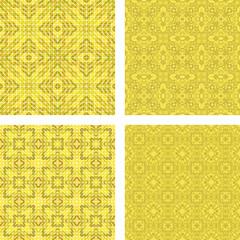 Yellow colorful seamless mosaic pattern set