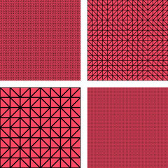 Red simple triangle mosaic pattern set
