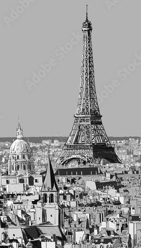Naklejka Roofs of Paris with Eiffel tower