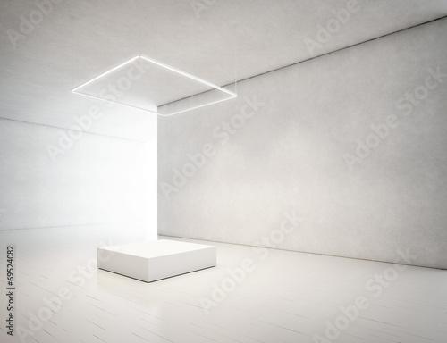 presentation room with white empty podium - 69524082