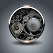 Abstract background metallic, 3D button with gears