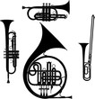 Brass musical instruments vectorized set - 69524683