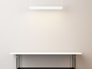 White table and lamp