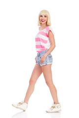 Walking blonde girl