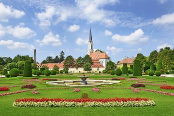 Castle gardens around the Schonbrunn Palace in Vienna