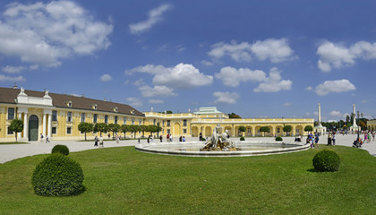 The courtyard in front of the Schonbrunn Palace in Vienna