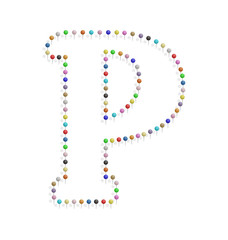 letter p with pushpin