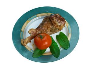 Honey garlic glazed  Turkey leg  baked