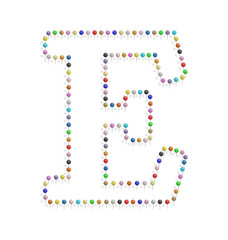 letter e with pushpin