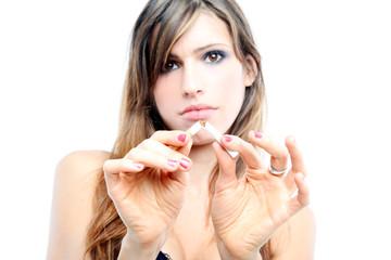 Beautiful girl in anti-smoking campaign