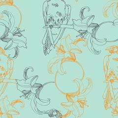 Ворон и лилии