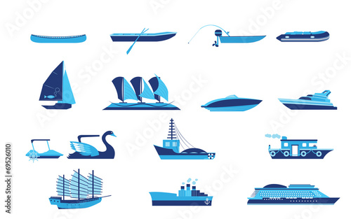Types of boat and Ship Transportation vector and icon - 69526010