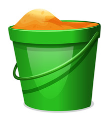 A green pail with sands