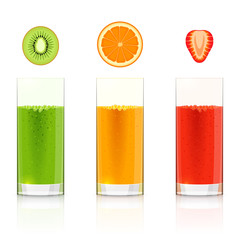 Glasses with fresh fruit juices