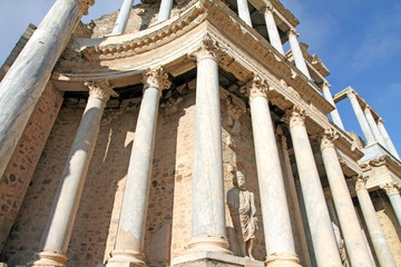 Ruins of the roman theatre, Merida, Badajoz, Extremadura, Spain