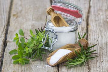 Healthy sea salt and fresh herbs