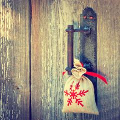 Gift on the handle of door