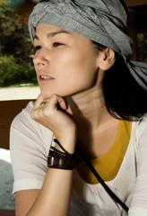 Portrait asian woman face.
