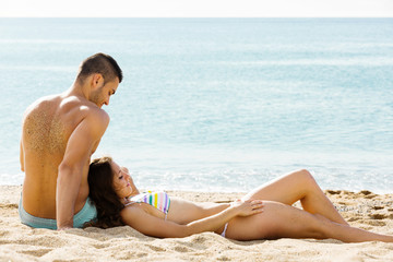 couple having a date at beach