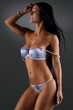 canvas print picture - Sexy young woman posing in blue lingerie