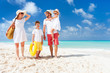 canvas print picture - Family on a tropical beach vacation
