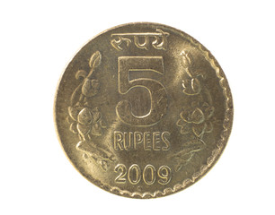 Close up shot of five rupee coin on white background