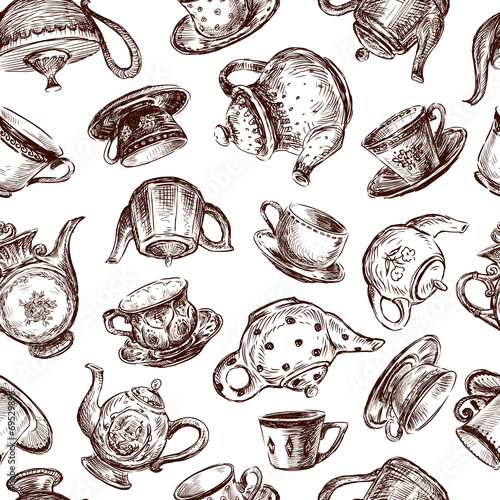 cups and teapots - 69529896
