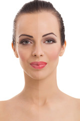 woman's face, beauty concept before and after contrast