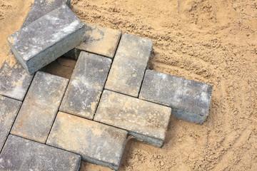 Grey bricks on a construction site