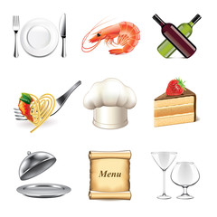 Restaurant and kitchen icons vector set