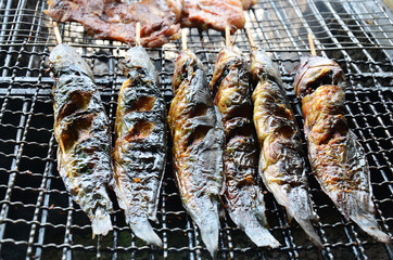 Clarias is a genus of catfishes fried thai style for sale