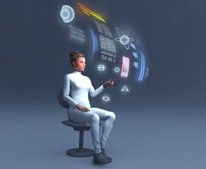 Mujer utilizando un ordenador holográfico