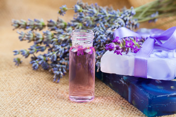 Natural handmade lavender Liquid soap and solid soap with fresh