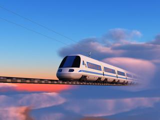 Tren de alta velocidad en el cielo