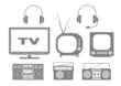 Grey audio and TV icons on white background