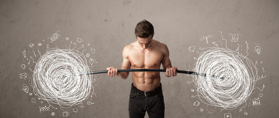 muscular man lifting chaos concept
