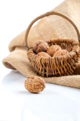 close up of walnut on white background (wicker basket full walnu