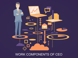 Vector illustration of a portrait of the ceo wearing a jacket wi