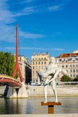 Lyon, paysage, Rhône et statue