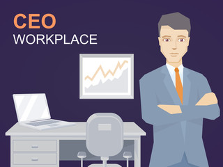 Vector of a portrait of ceo in office background