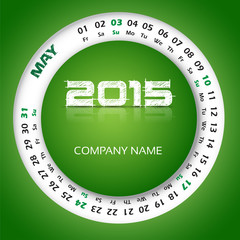 2015 year calendar for business wall and card. May