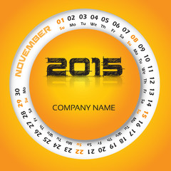 2015 year calendar for business wall and card. November