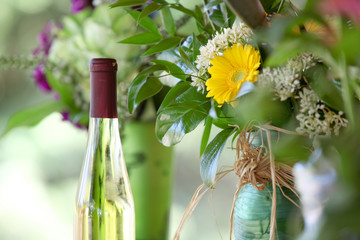Wine bottle  and flower vase