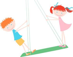 children on the swing