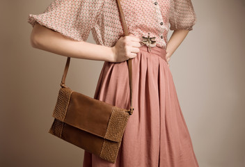 Vintage girl with purse