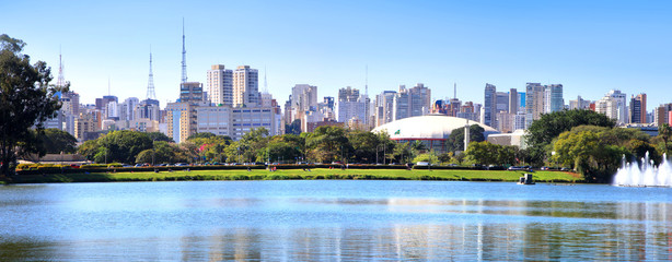 Panoramic view of Sao Paulo city reflections