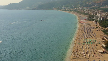 famous place cleopatra beach at Alanya Turkey aerial view