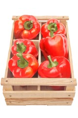 Bell Peppers in the wooden crate